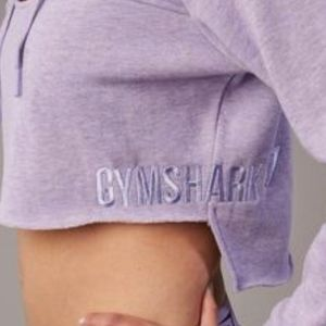 Gymshark Tops - Gymshark Cropped Raw-Edge Hoodie - Size S (EUC)